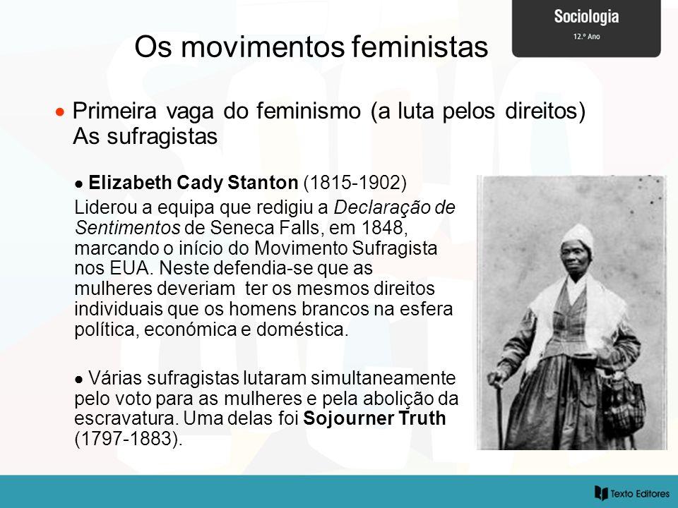 Os movimentos feministas Primeira vaga do feminismo (a luta pelos direitos) As sufragistas Elizabeth Cady Stanton (1815-1902) Liderou a equipa que red