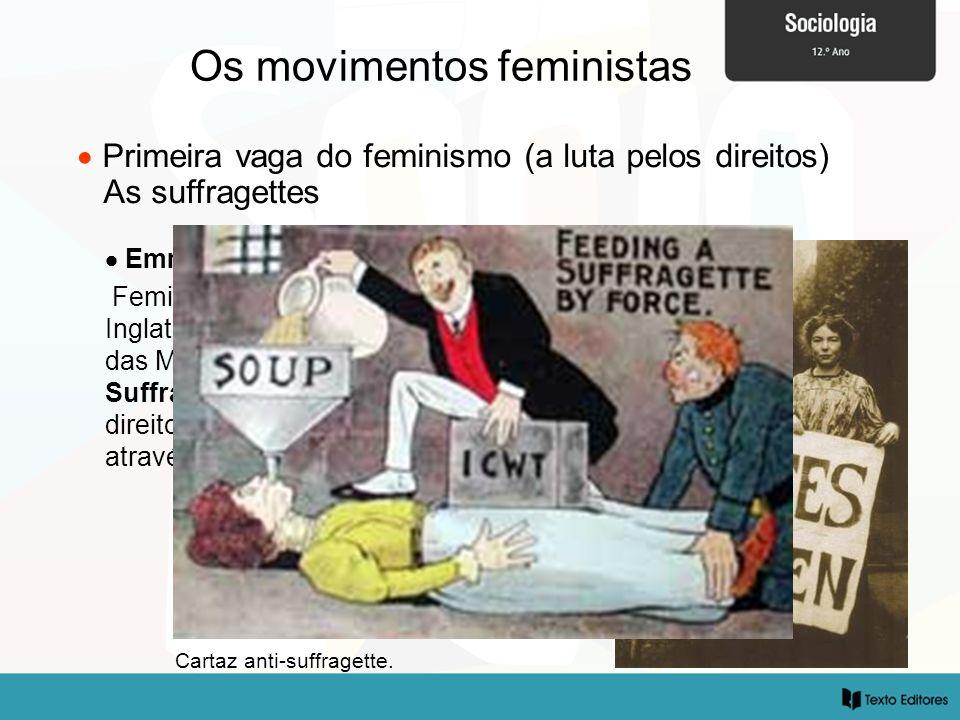 Os movimentos feministas Emmeline Pankhurst (1858-1928) Feminista mais radical, fundou em Inglaterra a Associação Social e Política das Mulheres, ou s