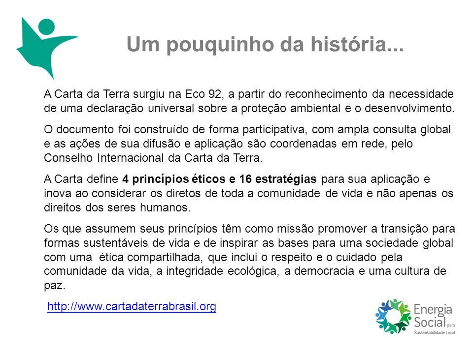 Um pouquinho da história... A Carta da Terra surgiu na Eco 92, a partir do reconhecimento da necessidade de uma declaração universal sobre a proteção