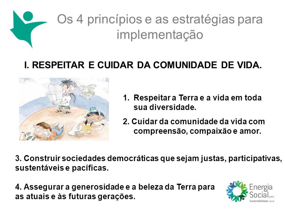 Os 4 princípios e as estratégias para implementação I. RESPEITAR E CUIDAR DA COMUNIDADE DE VIDA. 1.Respeitar a Terra e a vida em toda sua diversidade.