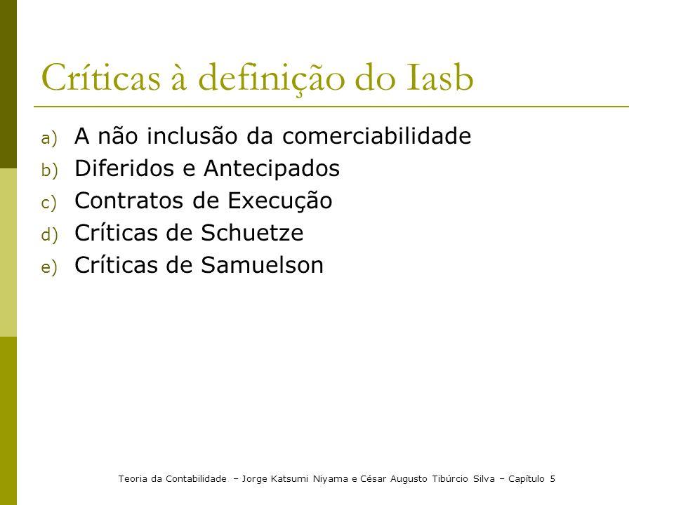 Críticas à definição do Iasb a) A não inclusão da comerciabilidade b) Diferidos e Antecipados c) Contratos de Execução d) Críticas de Schuetze e) Crít