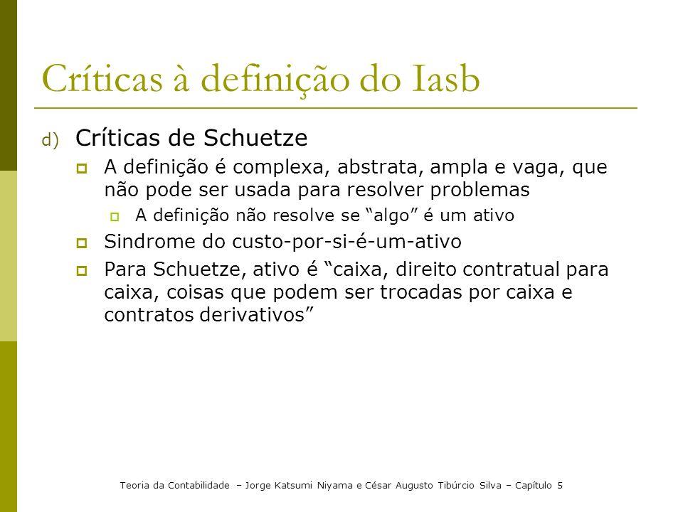 Críticas à definição do Iasb d) Críticas de Schuetze A definição é complexa, abstrata, ampla e vaga, que não pode ser usada para resolver problemas A