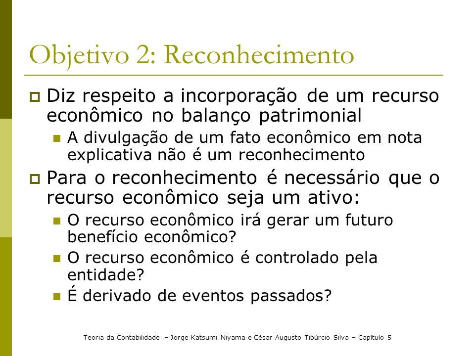 Objetivo 2: Reconhecimento Diz respeito a incorporação de um recurso econômico no balanço patrimonial A divulgação de um fato econômico em nota explic