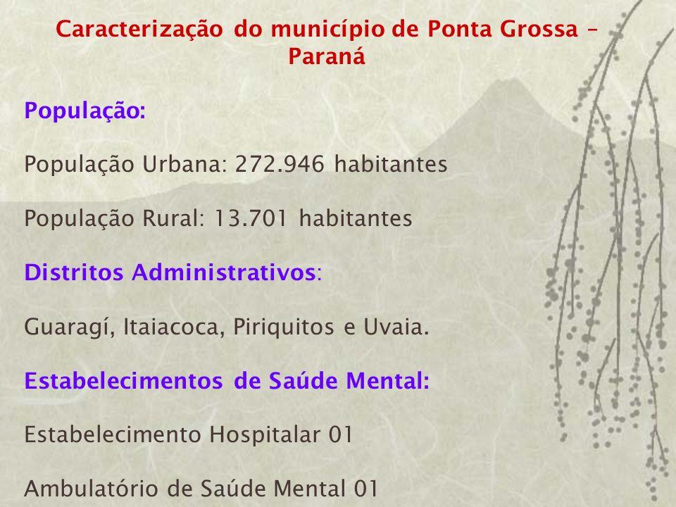 BREVE HISTÓRICO A área de saúde mental da cidade de Ponta Grossa Pr., é pólo regional da macro região dos Campos Gerais, abrangendo 14 municípios: Castro, Palmeira, Tibagi, Ipiranga, Sengés, Reserva, Ivaí, Piraí do Sul, Arapoti, Ortigueira, Curiúva, Ventania, Lajeado e Carambeí.
