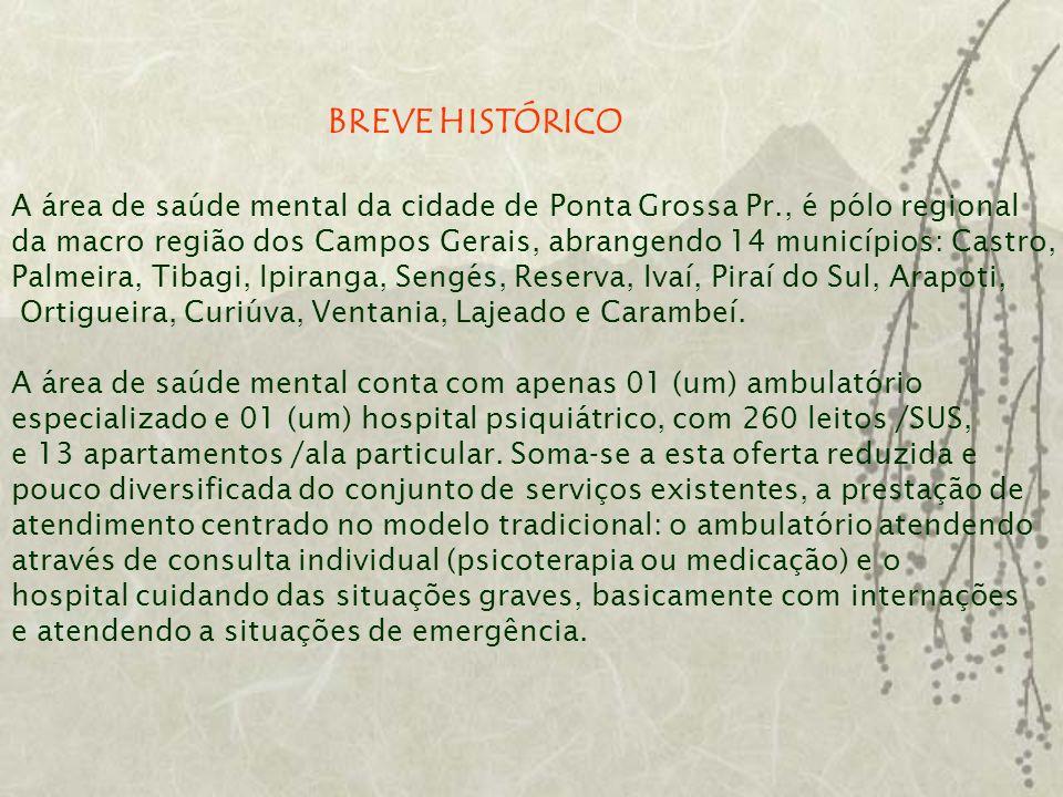 BREVE HISTÓRICO A área de saúde mental da cidade de Ponta Grossa Pr., é pólo regional da macro região dos Campos Gerais, abrangendo 14 municípios: Cas