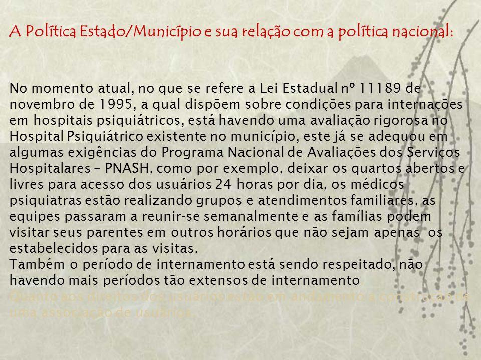 A Política Estado/Município e sua relação com a política nacional: No momento atual, no que se refere a Lei Estadual nº 11189 de novembro de 1995, a q
