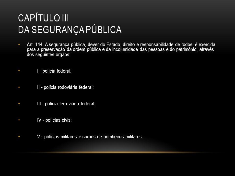 CAPÍTULO III DA SEGURANÇA PÚBLICA Art. 144. A segurança pública, dever do Estado, direito e responsabilidade de todos, é exercida para a preservação d