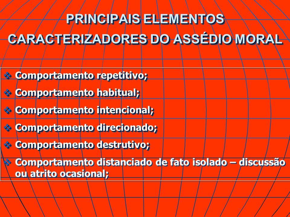 PRINCIPAIS ELEMENTOS CARACTERIZADORES DO ASSÉDIO MORAL Comportamento repetitivo; Comportamento repetitivo; Comportamento habitual; Comportamento habit