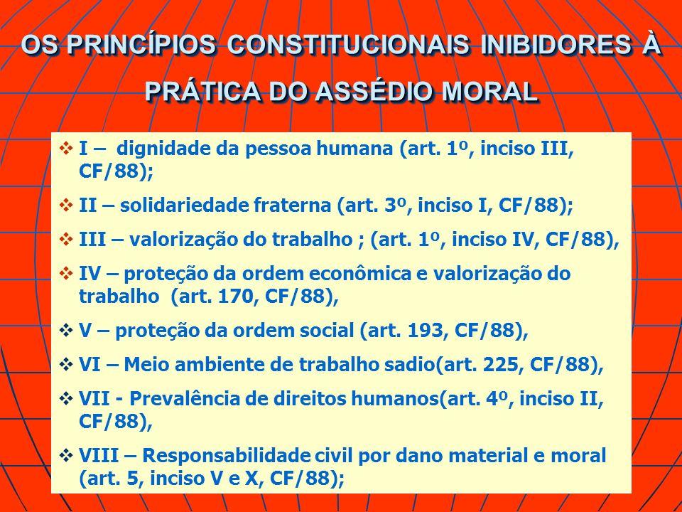 OS PRINCÍPIOS CONSTITUCIONAIS INIBIDORES À PRÁTICA DO ASSÉDIO MORAL I – dignidade da pessoa humana (art. 1º, inciso III, CF/88); II – solidariedade fr