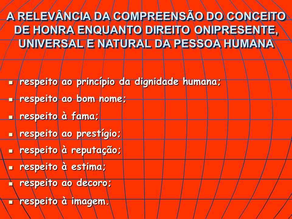 respeito ao princípio da dignidade humana; respeito ao princípio da dignidade humana; A RELEVÂNCIA DA COMPREENSÃO DO CONCEITO DE HONRA ENQUANTO DIREIT