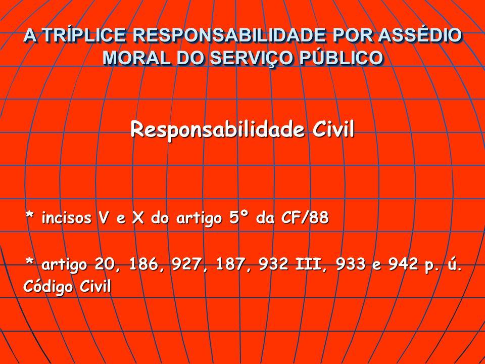 A TRÍPLICE RESPONSABILIDADE POR ASSÉDIO MORAL DO SERVIÇO PÚBLICO Responsabilidade Civil * incisos V e X do artigo 5º da CF/88 * artigo 20, 186, 927, 1