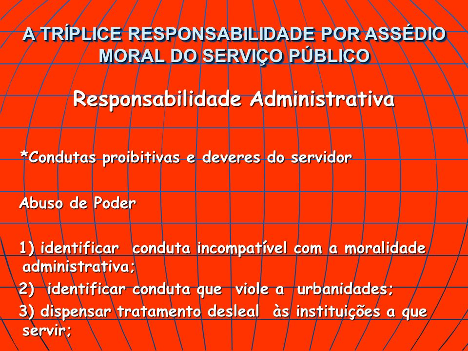 Responsabilidade Administrativa *Condutas proibitivas e deveres do servidor Abuso de Poder 1) identificar conduta incompatível com a moralidade admini