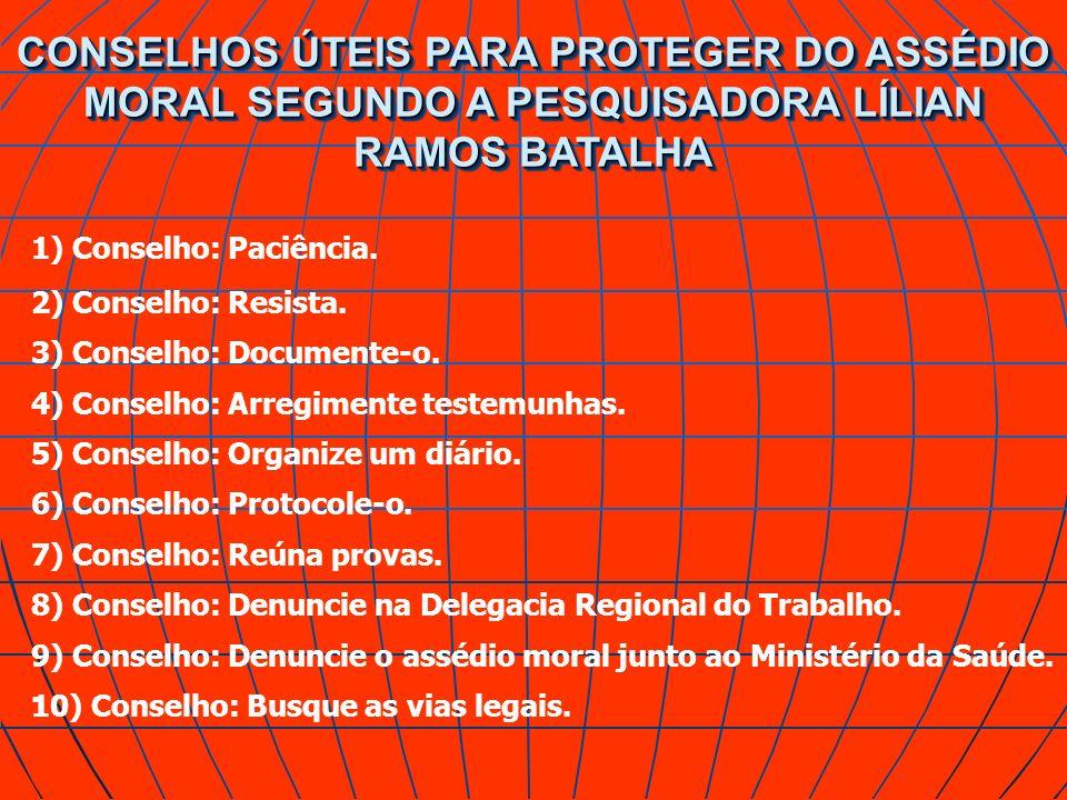 CONSELHOS ÚTEIS PARA PROTEGER DO ASSÉDIO MORAL SEGUNDO A PESQUISADORA LÍLIAN RAMOS BATALHA 1) Conselho: Paciência. 2) Conselho: Resista. 3) Conselho:
