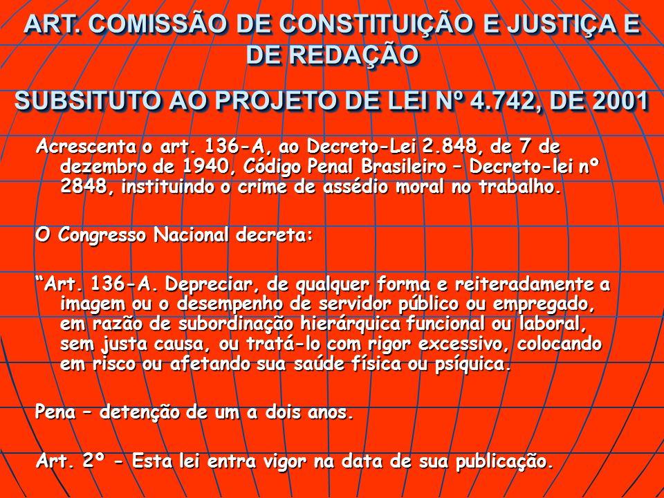 Acrescenta o art. 136-A, ao Decreto-Lei 2.848, de 7 de dezembro de 1940, Código Penal Brasileiro – Decreto-lei nº 2848, instituindo o crime de assédio