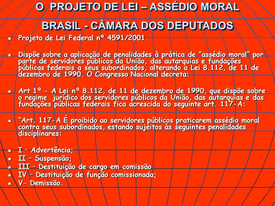 Projeto de Lei Federal nº 4591/2001 Projeto de Lei Federal nº 4591/2001 Dispõe sobre a aplicação de penalidades à prática de assédio moral por parte d