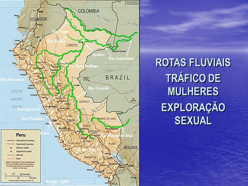 Río Madre de Dios Río Huallaga Río Ucayali Río Amazonas Río Napo Iquitos Lago Titicaca Río Marañon Río Nanay Río Aguaytia Río Pachitea Lima Fonte - DPF ROTAS FLUVIAIS TRÁFICO DE MULHERES EXPLORAÇÃO SEXUAL ROTAS FLUVIAIS TRÁFICO DE MULHERES EXPLORAÇÃO SEXUAL