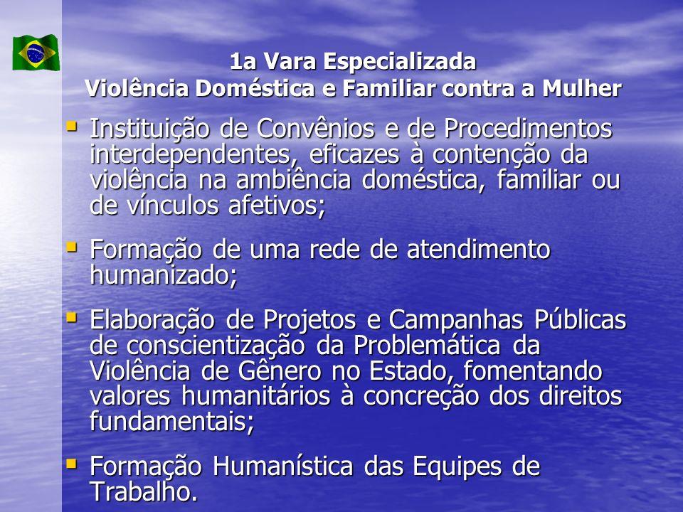 1a Vara Especializada Violência Doméstica e Familiar contra a Mulher Instituição de Convênios e de Procedimentos interdependentes, eficazes à contençã