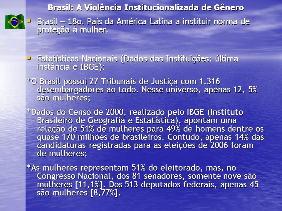 Brasil: A Violência Institucionalizada de Gênero Brasil – 18o. País da América Latina a instituir norma de proteção à mulher. Brasil – 18o. País da Am