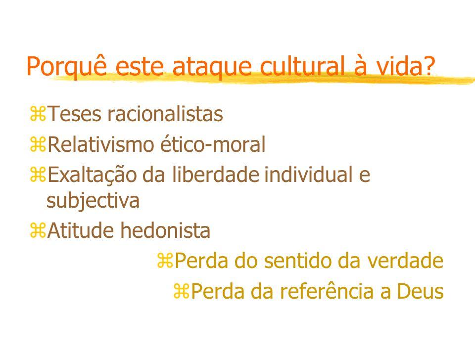 Porquê este ataque cultural à vida? zTeses racionalistas zRelativismo ético-moral zExaltação da liberdade individual e subjectiva zAtitude hedonista z