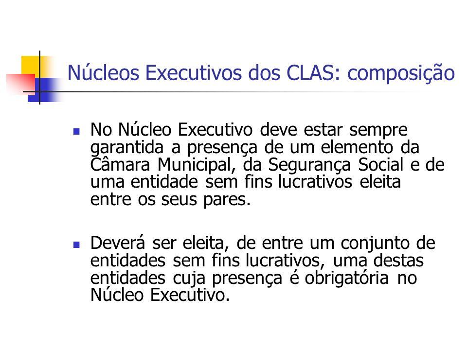 Núcleos Executivos dos CLAS: composição No Núcleo Executivo deve estar sempre garantida a presença de um elemento da Câmara Municipal, da Segurança Social e de uma entidade sem fins lucrativos eleita entre os seus pares.