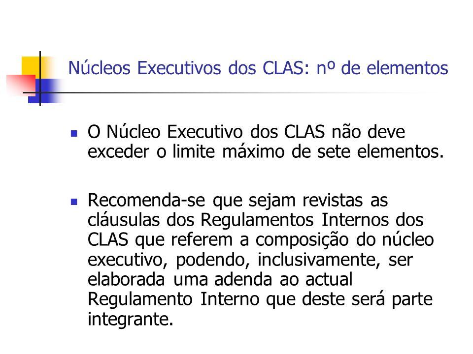 Núcleos Executivos dos CLAS: nº de elementos O Núcleo Executivo dos CLAS não deve exceder o limite máximo de sete elementos.