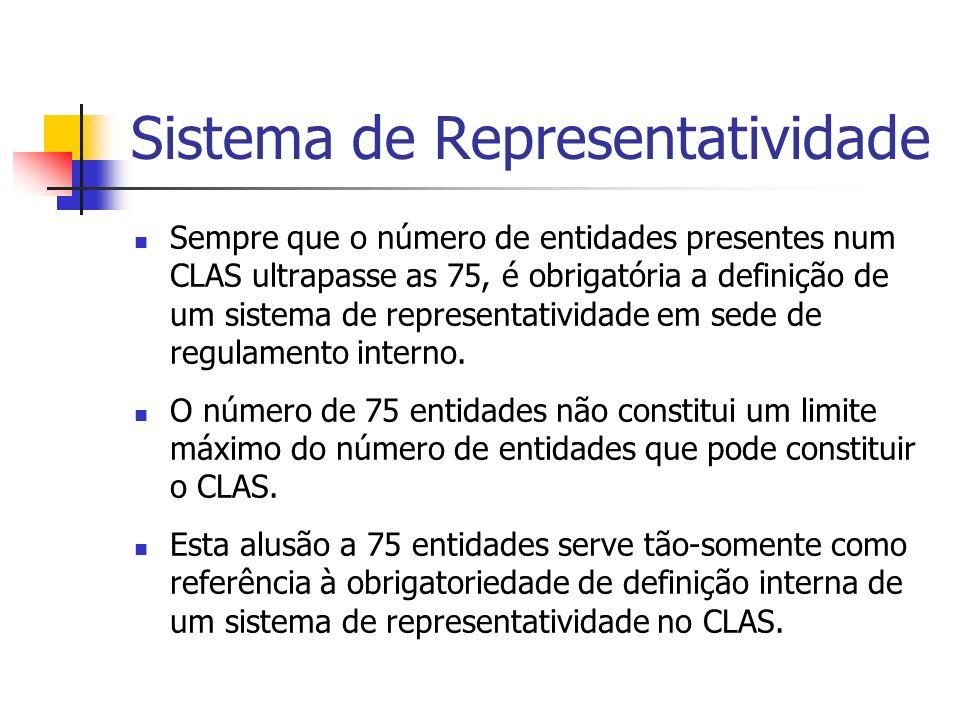 Sistema de Representatividade Sempre que o número de entidades presentes num CLAS ultrapasse as 75, é obrigatória a definição de um sistema de representatividade em sede de regulamento interno.