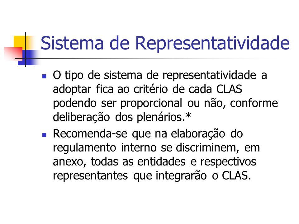 Sistema de Representatividade O tipo de sistema de representatividade a adoptar fica ao critério de cada CLAS podendo ser proporcional ou não, conforme deliberação dos plenários.* Recomenda-se que na elaboração do regulamento interno se discriminem, em anexo, todas as entidades e respectivos representantes que integrarão o CLAS.