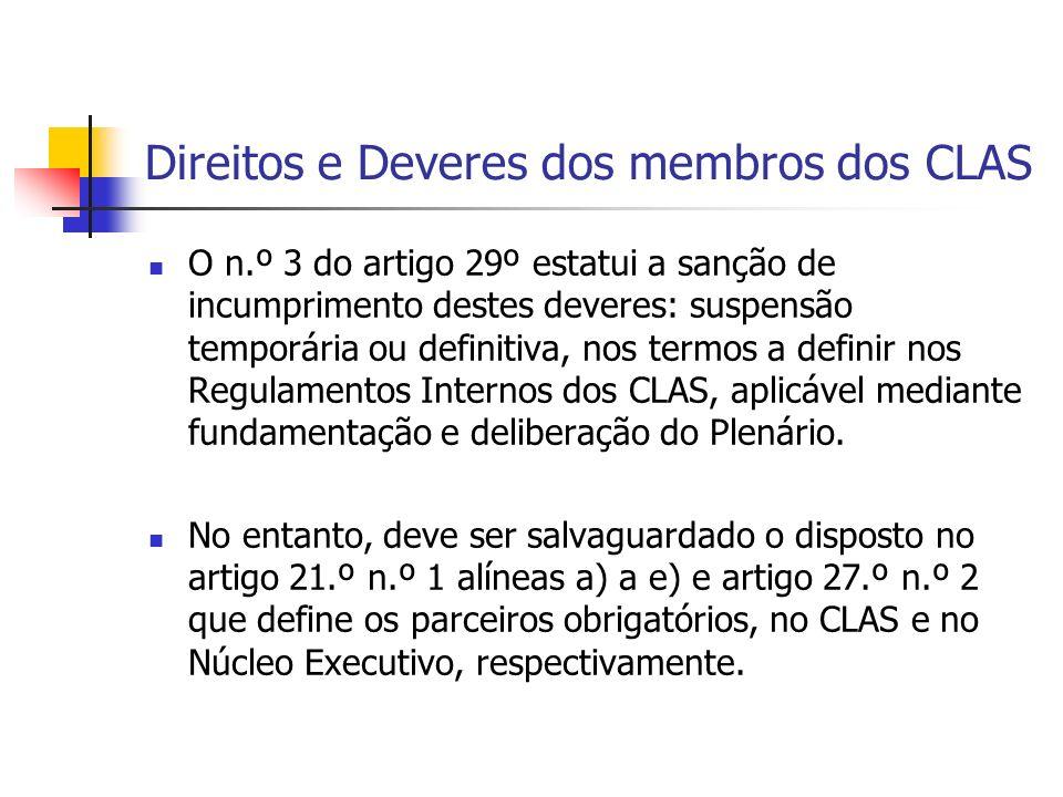 Direitos e Deveres dos membros dos CLAS O n.º 3 do artigo 29º estatui a sanção de incumprimento destes deveres: suspensão temporária ou definitiva, nos termos a definir nos Regulamentos Internos dos CLAS, aplicável mediante fundamentação e deliberação do Plenário.