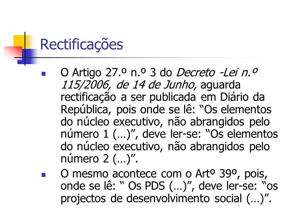 Rectificações O Artigo 27.º n.º 3 do Decreto -Lei n.º 115/2006, de 14 de Junho, aguarda rectificação a ser publicada em Diário da República, pois onde se lê: Os elementos do núcleo executivo, não abrangidos pelo número 1 (…), deve ler-se: Os elementos do núcleo executivo, não abrangidos pelo número 2 (…).