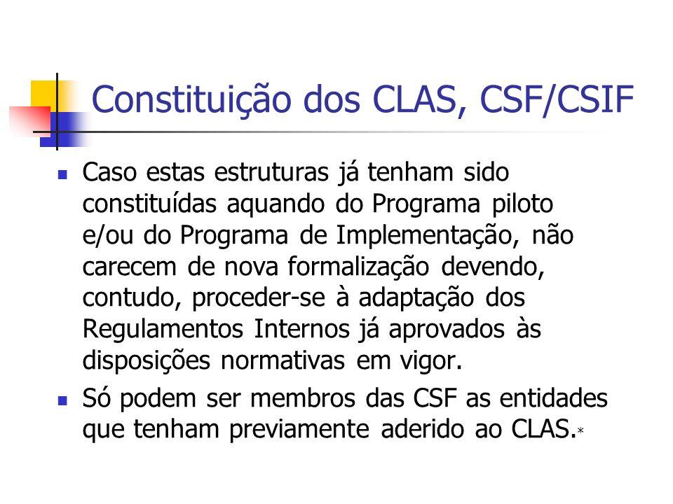 Constituição dos CLAS, CSF/CSIF Caso estas estruturas já tenham sido constituídas aquando do Programa piloto e/ou do Programa de Implementação, não carecem de nova formalização devendo, contudo, proceder-se à adaptação dos Regulamentos Internos já aprovados às disposições normativas em vigor.