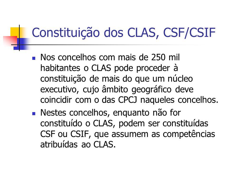 Nos concelhos com mais de 250 mil habitantes o CLAS pode proceder à constituição de mais do que um núcleo executivo, cujo âmbito geográfico deve coincidir com o das CPCJ naqueles concelhos.