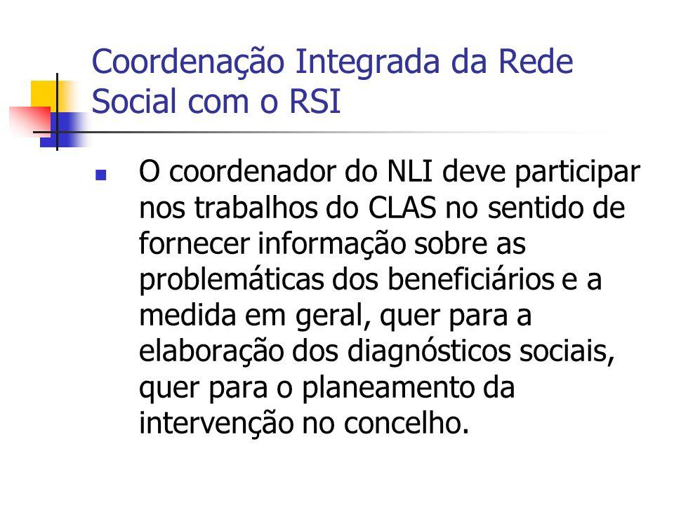 Coordenação Integrada da Rede Social com o RSI O coordenador do NLI deve participar nos trabalhos do CLAS no sentido de fornecer informação sobre as problemáticas dos beneficiários e a medida em geral, quer para a elaboração dos diagnósticos sociais, quer para o planeamento da intervenção no concelho.