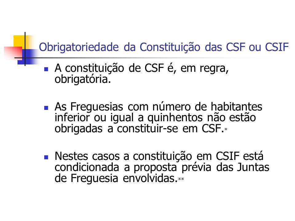 Obrigatoriedade da Constituição das CSF ou CSIF A constituição de CSF é, em regra, obrigatória.
