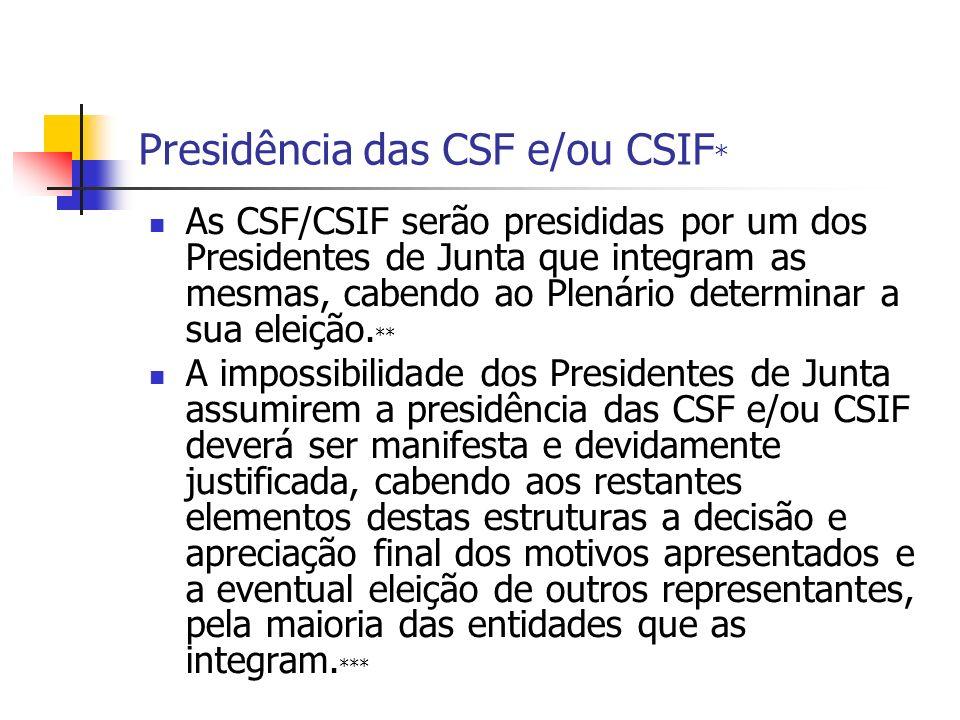 Presidência das CSF e/ou CSIF * As CSF/CSIF serão presididas por um dos Presidentes de Junta que integram as mesmas, cabendo ao Plenário determinar a sua eleição.