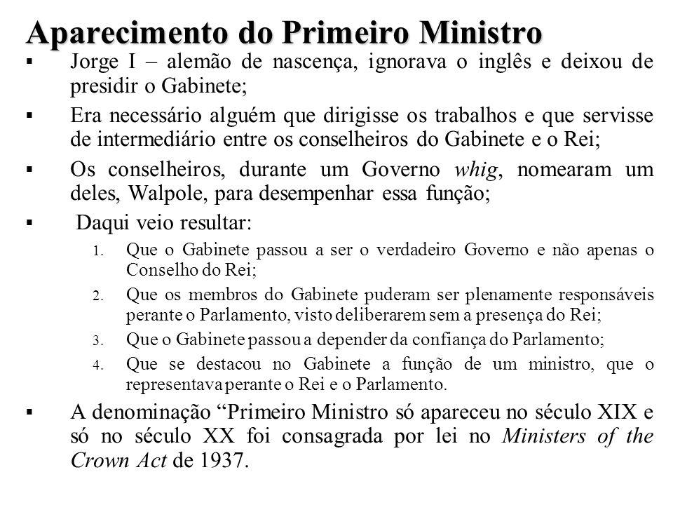 Aparecimento do Primeiro Ministro Jorge I – alemão de nascença, ignorava o inglês e deixou de presidir o Gabinete; Era necessário alguém que dirigisse