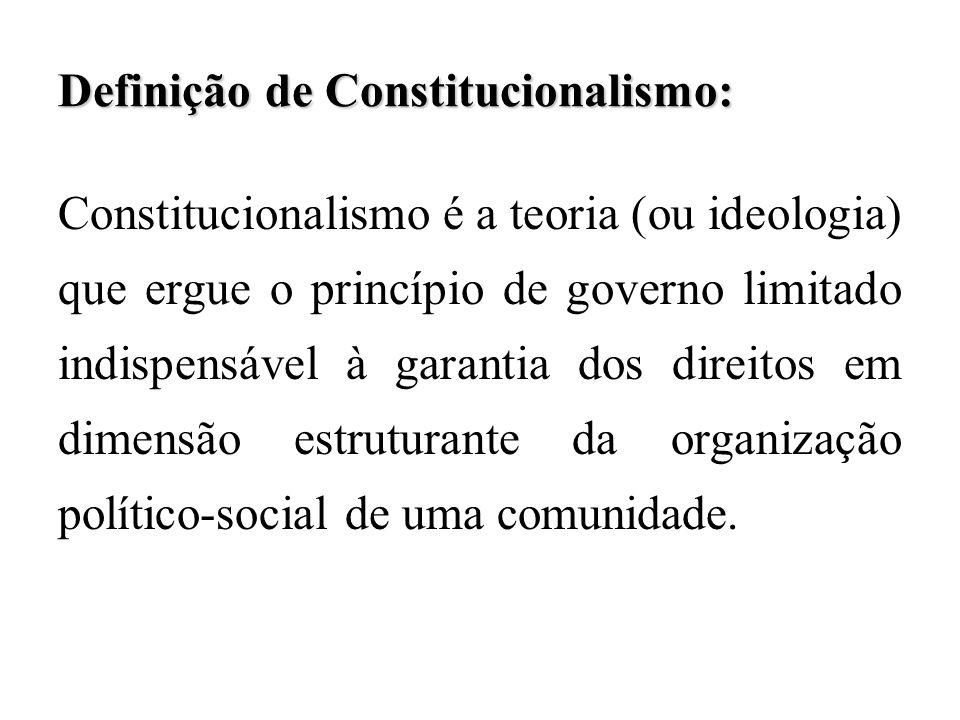 Definição de Constitucionalismo: Constitucionalismo é a teoria (ou ideologia) que ergue o princípio de governo limitado indispensável à garantia dos d