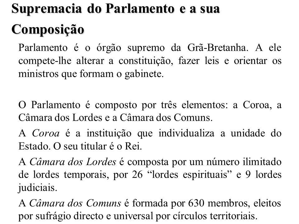 Supremacia do Parlamento e a sua Composição Parlamento é o órgão supremo da Grã-Bretanha. A ele compete-lhe alterar a constituição, fazer leis e orien