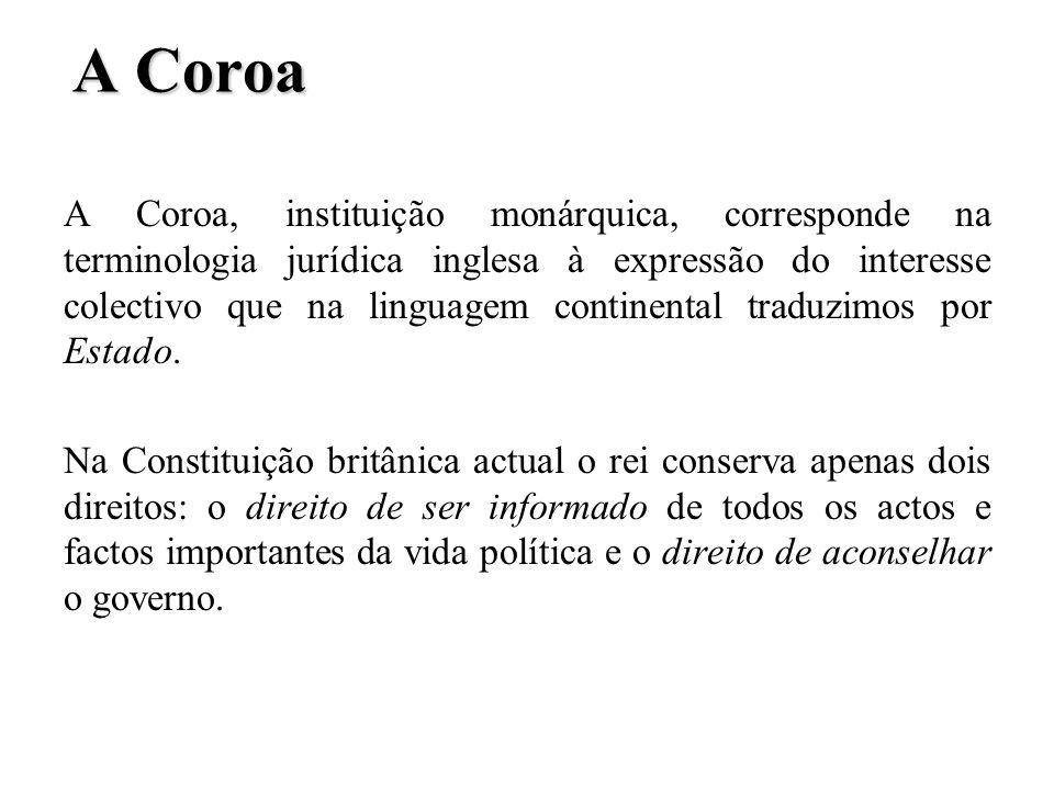 A Coroa A Coroa, instituição monárquica, corresponde na terminologia jurídica inglesa à expressão do interesse colectivo que na linguagem continental