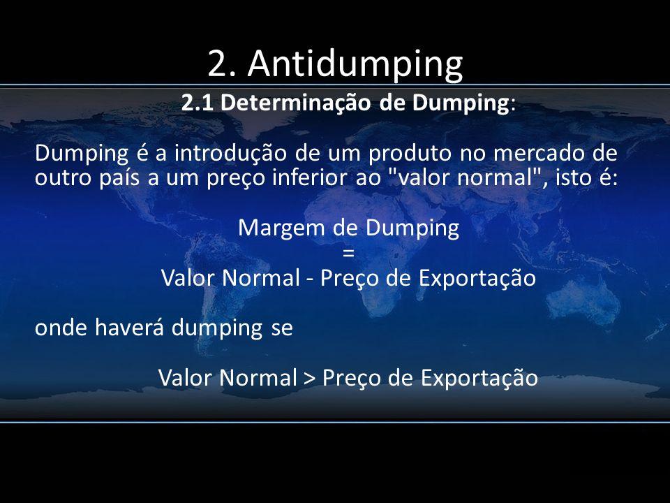 2.1 Determinação de Dumping: Dumping é a introdução de um produto no mercado de outro país a um preço inferior ao