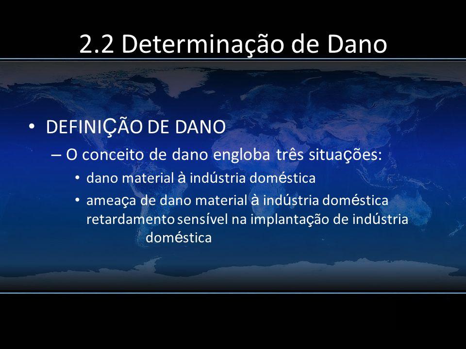 2.2 Determinação de Dano DEFINI Ç ÃO DE DANO – O conceito de dano engloba três situa ç ões: dano material à ind ú stria dom é stica amea ç a de dano m