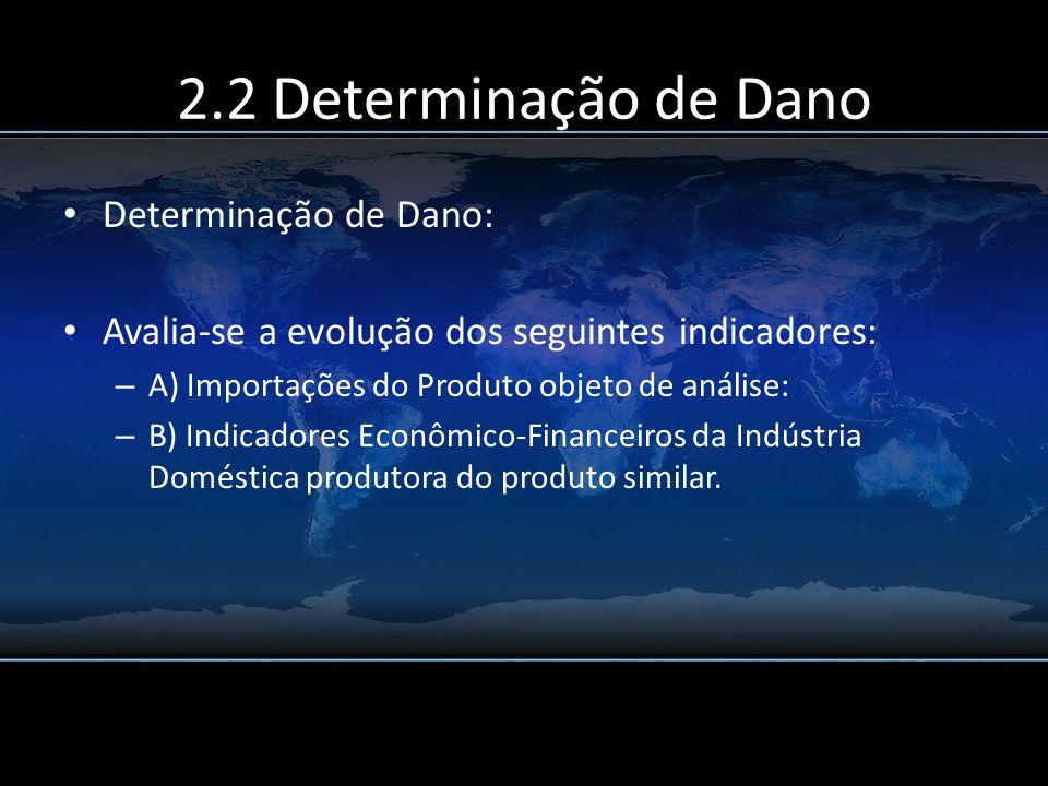 2.2 Determinação de Dano Determinação de Dano: Avalia-se a evolução dos seguintes indicadores: – A) Importações do Produto objeto de análise: – B) Ind