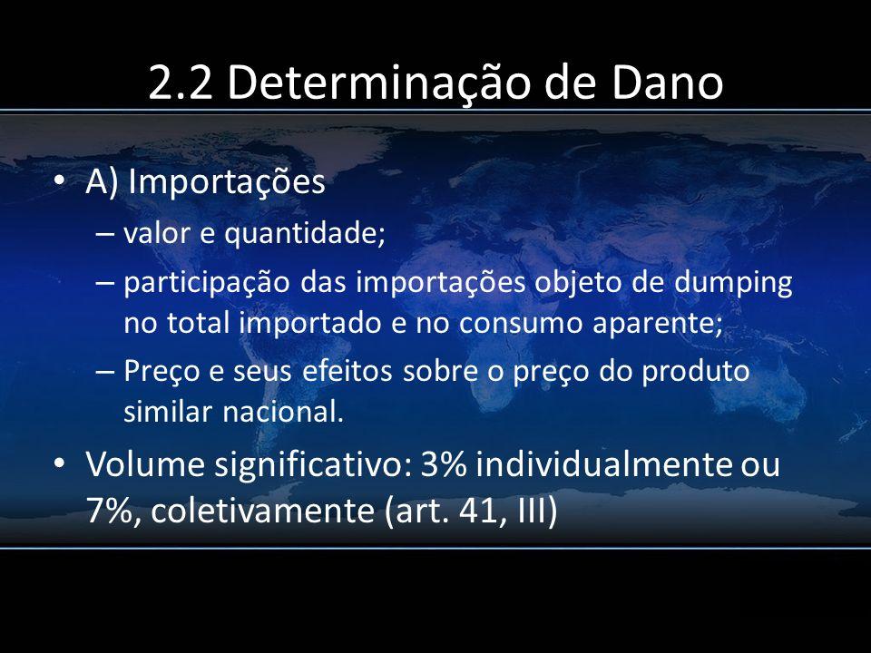 2.2 Determinação de Dano A) Importações – valor e quantidade; – participação das importações objeto de dumping no total importado e no consumo aparent
