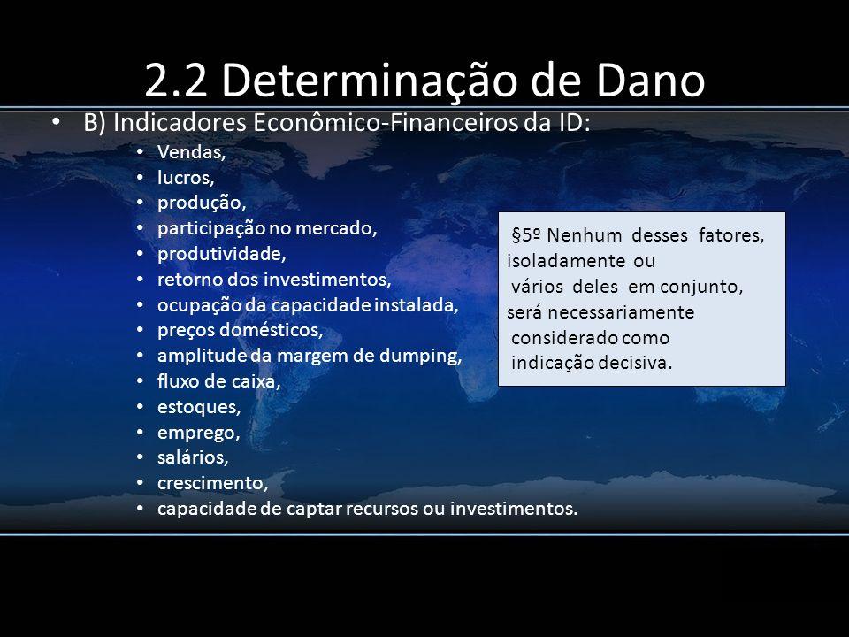 2.2 Determinação de Dano B) Indicadores Econômico-Financeiros da ID: Vendas, lucros, produção, participação no mercado, produtividade, retorno dos inv