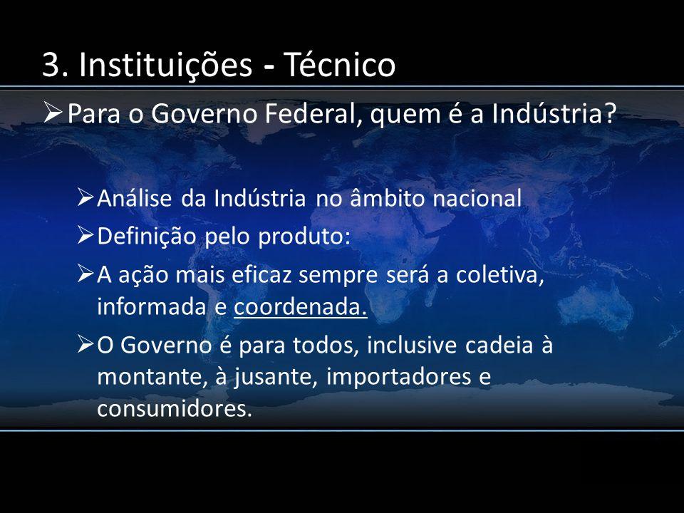 3. Instituições - Técnico Para o Governo Federal, quem é a Indústria? Análise da Indústria no âmbito nacional Definição pelo produto: A ação mais efic