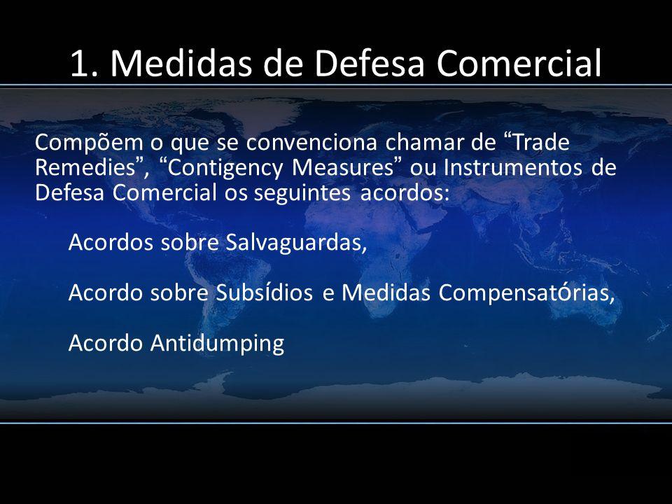 Compõem o que se convenciona chamar de Trade Remedies, Contigency Measures ou Instrumentos de Defesa Comercial os seguintes acordos: Acordos sobre Sal