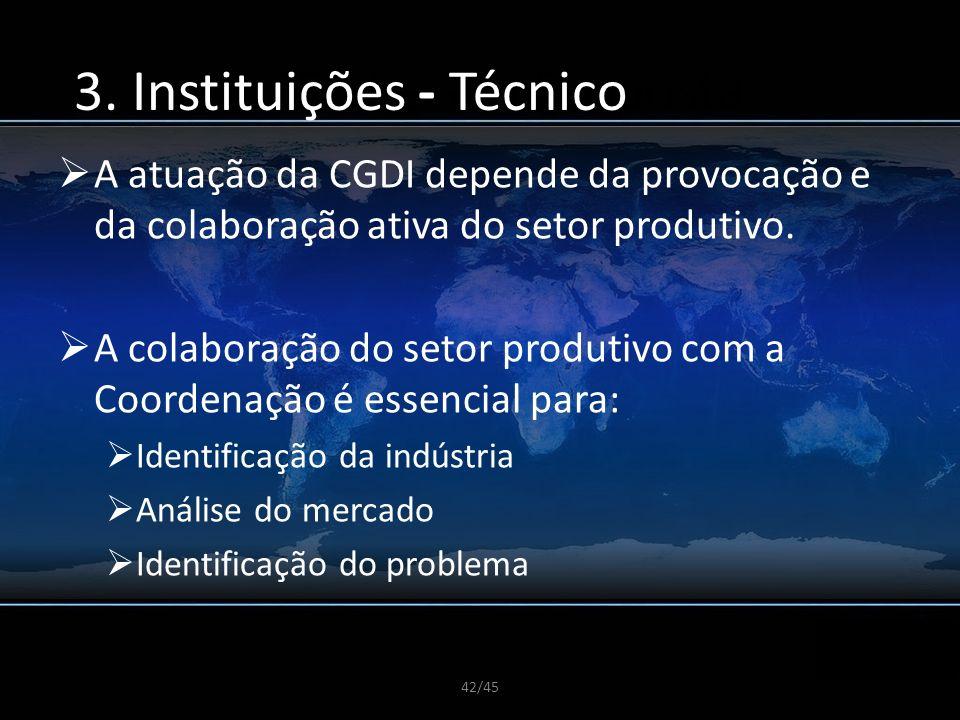 42/45 A CGDI e sua Proposta A atuação da CGDI depende da provocação e da colaboração ativa do setor produtivo. A colaboração do setor produtivo com a