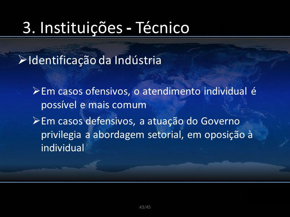 43/45 A CGDI e sua Proposta Identificação da Indústria Em casos ofensivos, o atendimento individual é possível e mais comum Em casos defensivos, a atu