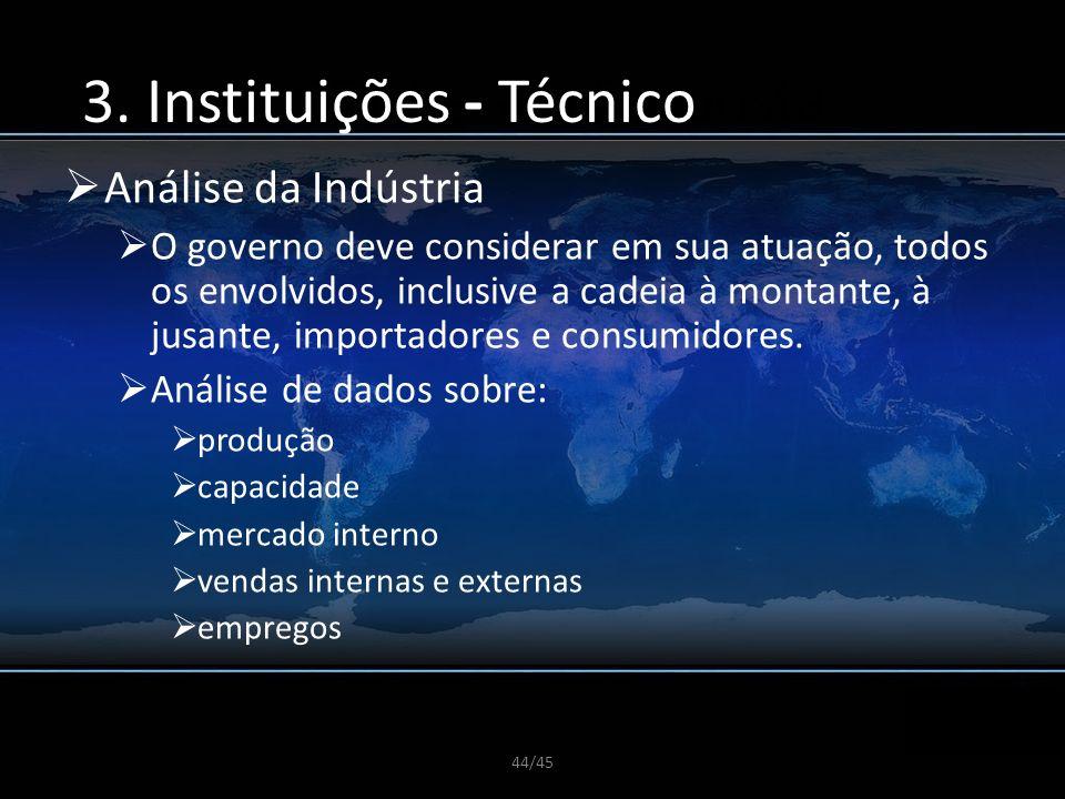44/45 A CGDI e sua Proposta Análise da Indústria O governo deve considerar em sua atuação, todos os envolvidos, inclusive a cadeia à montante, à jusan