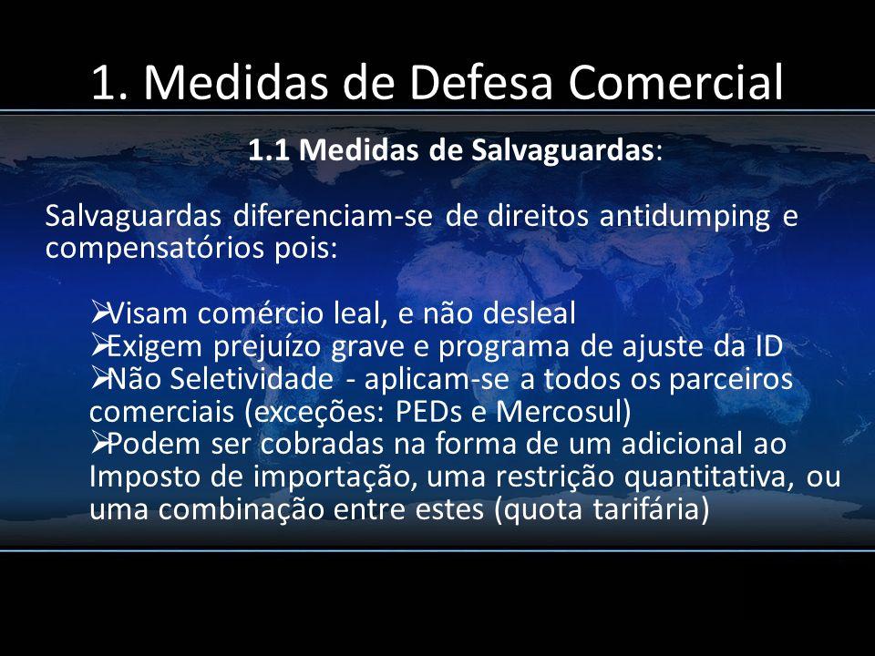 1. Medidas de Defesa Comercial 1.1 Medidas de Salvaguardas: Salvaguardas diferenciam-se de direitos antidumping e compensatórios pois: Visam comércio