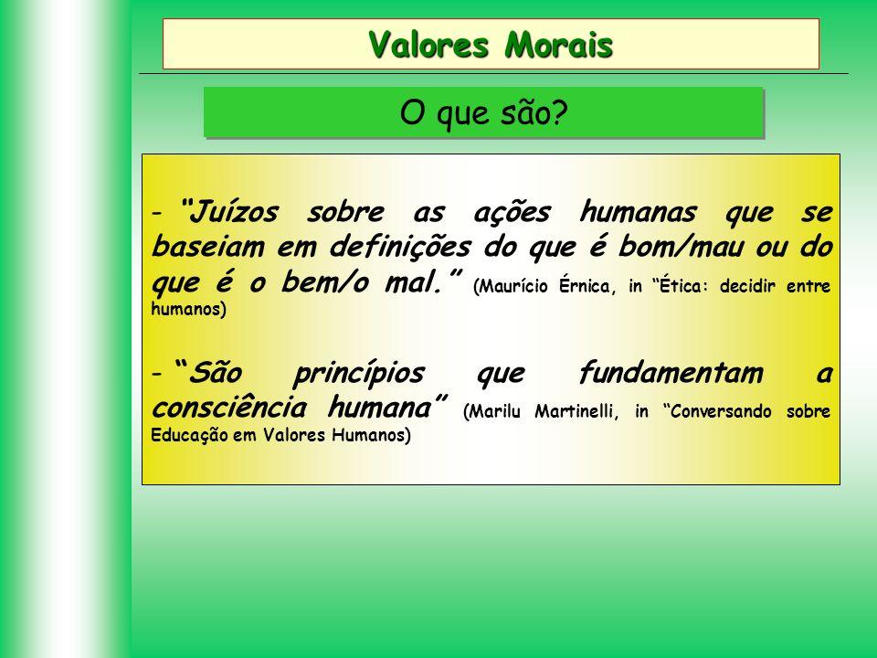 Valores Morais O que são? - Juízos sobre as ações humanas que se baseiam em definições do que é bom/mau ou do que é o bem/o mal. (Maurício Érnica, in